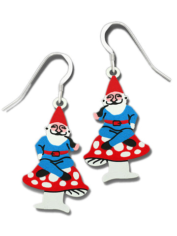 Red Hat Garden Gnome on a Red-Spotted Mushroom Earrings By Sienna Sky 1792