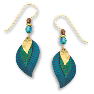 Teal Blue Gold Tone Plate Leaf 3 part Earrings, Handmade in USA by Adajio Sienna Sky 7133