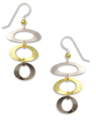 Gold Silver Tone Hematite Open Oval Dangle Drop Earrings Handmade In USA by Adajio Sienna Sky 7142