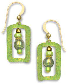 Adajio By Sienna Sky Green Gold Tone Open Earrings with Beads 7167