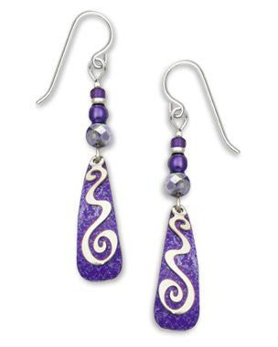 Adajio By Sienna Sky Purple Silver Tone Squiggle Overlay Earrings 7229