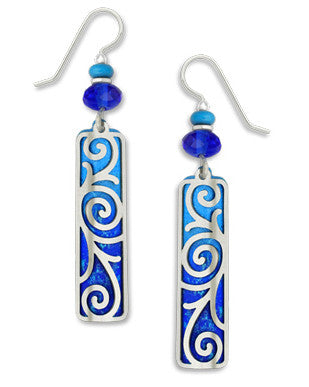 Adajio By Sienna Sky 7277 Blue Silver Tone Swirled Overlay Column Earrings