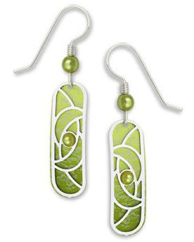 Adajio By Sienna Sky Green with Silver Tone Overlay Column Earrings 7326
