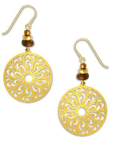 Gold Tone Large Filigree Oval Gold Tone Plate Earrings, Handmade in USA by Adajio Sienna Sky 7358