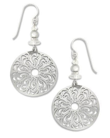 Adajio By Sienna Sky Silver Tone Large Filigree Oval Earrings 7391