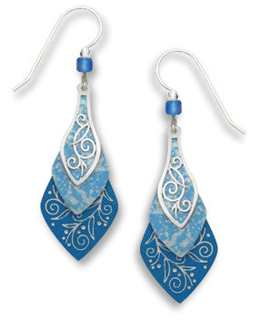 Blue 3 part Necktie Silver Tone Overlay Earrings, Handmade in USA by Adajio Sienna Sky 7445