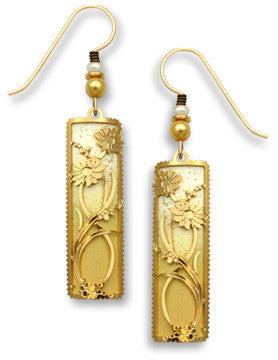 Rich Butter Gold Tone with Gold Tone Plate Daises Overlay Earrings, Handmade in USA 7488