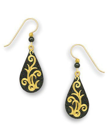 Coal Gray Sparkling Teardrop Gold Tone Plate Tendril Vine Overlay Earrings Handmade USA Adajio 7490