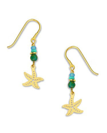Starfish Drop Earrings Gold Tone Plated, Handmade in the USA by Sienna Sky 1238