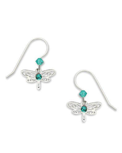 Dragonfly Earrings Silver Tone Blue Laser Cut Drop by Sienna Sky 716 1