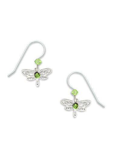 Dragonfly Silver Tone Green Laser Cut Drop Earrings by Sienna Sky 716 3