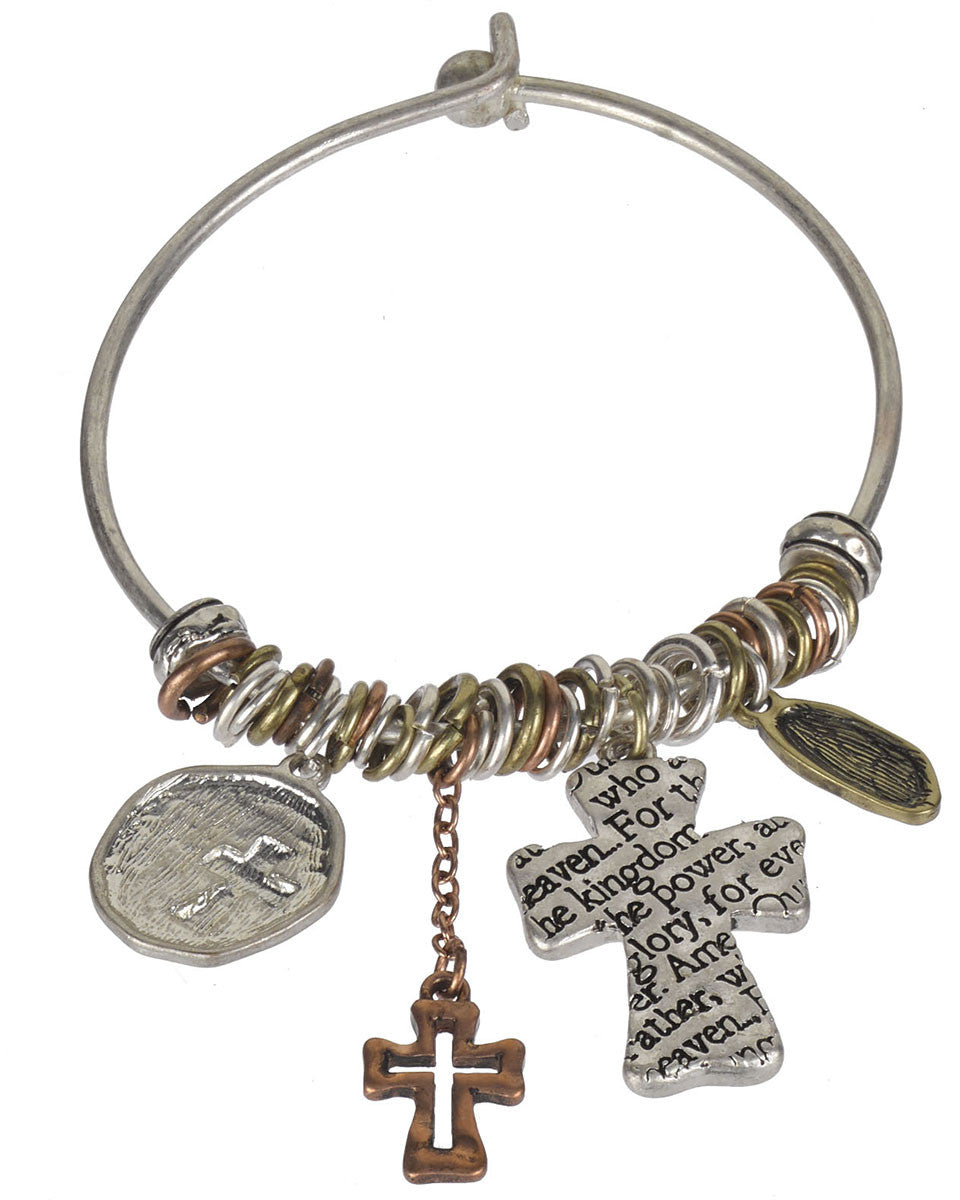The Lord\'s Prayer & Cross Charms Wire Bangle Bracelet \