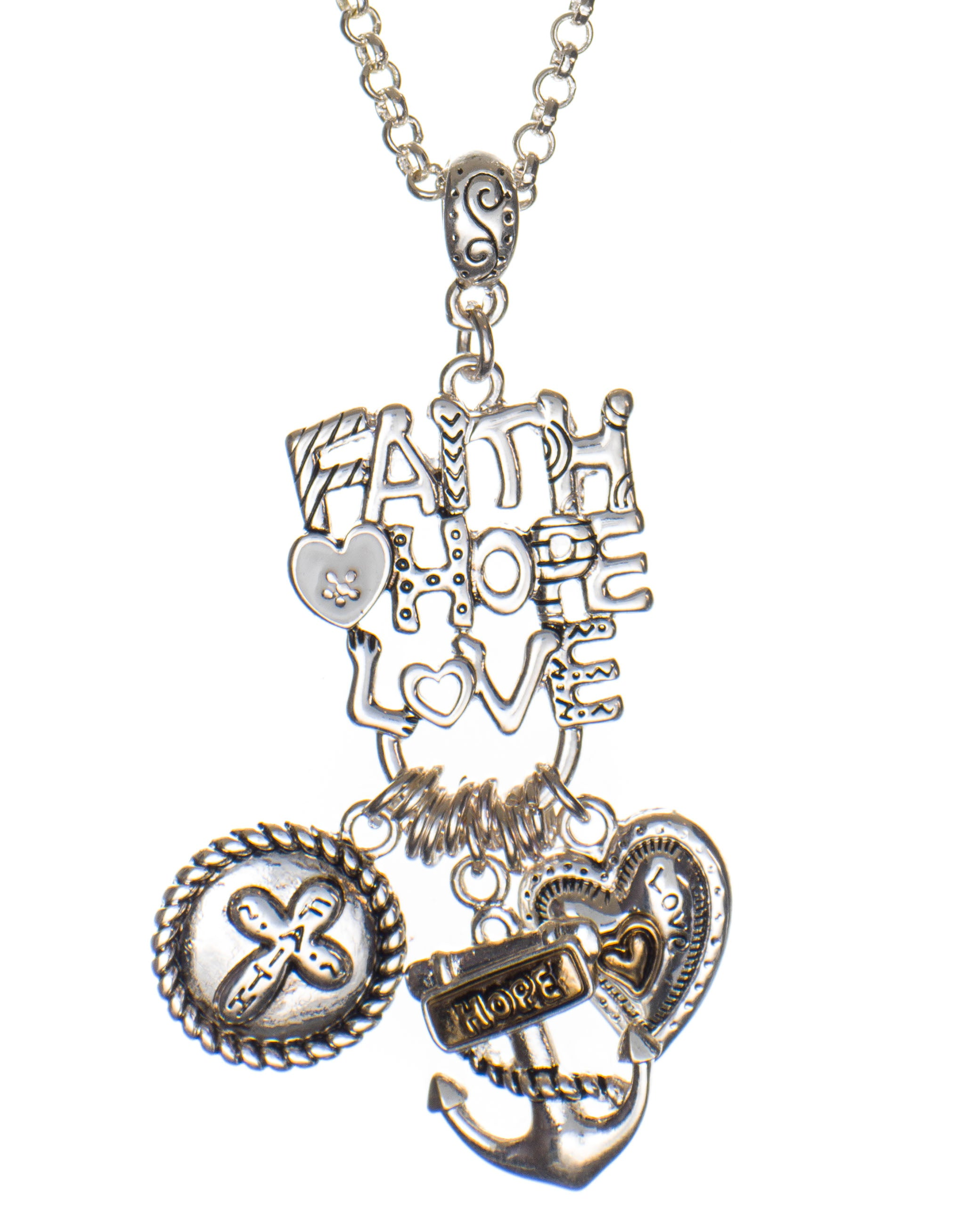 hope oblacoder faith necklace silver pendant love sterling elegant