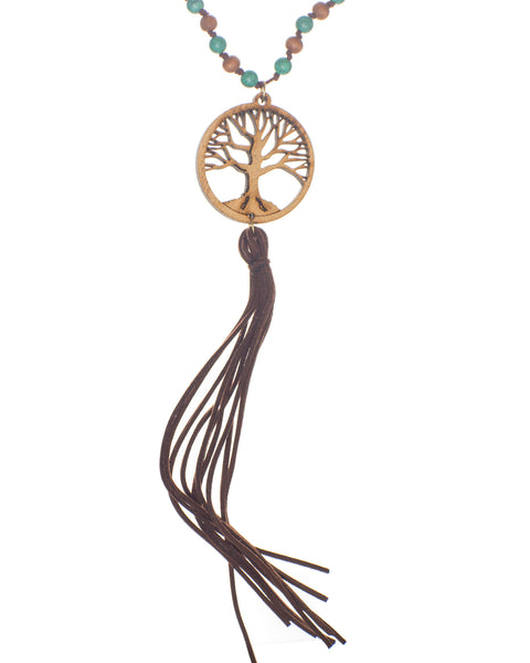 Tree Of Life Wooden Rosary Bead Long Necklace Earring Set Faux