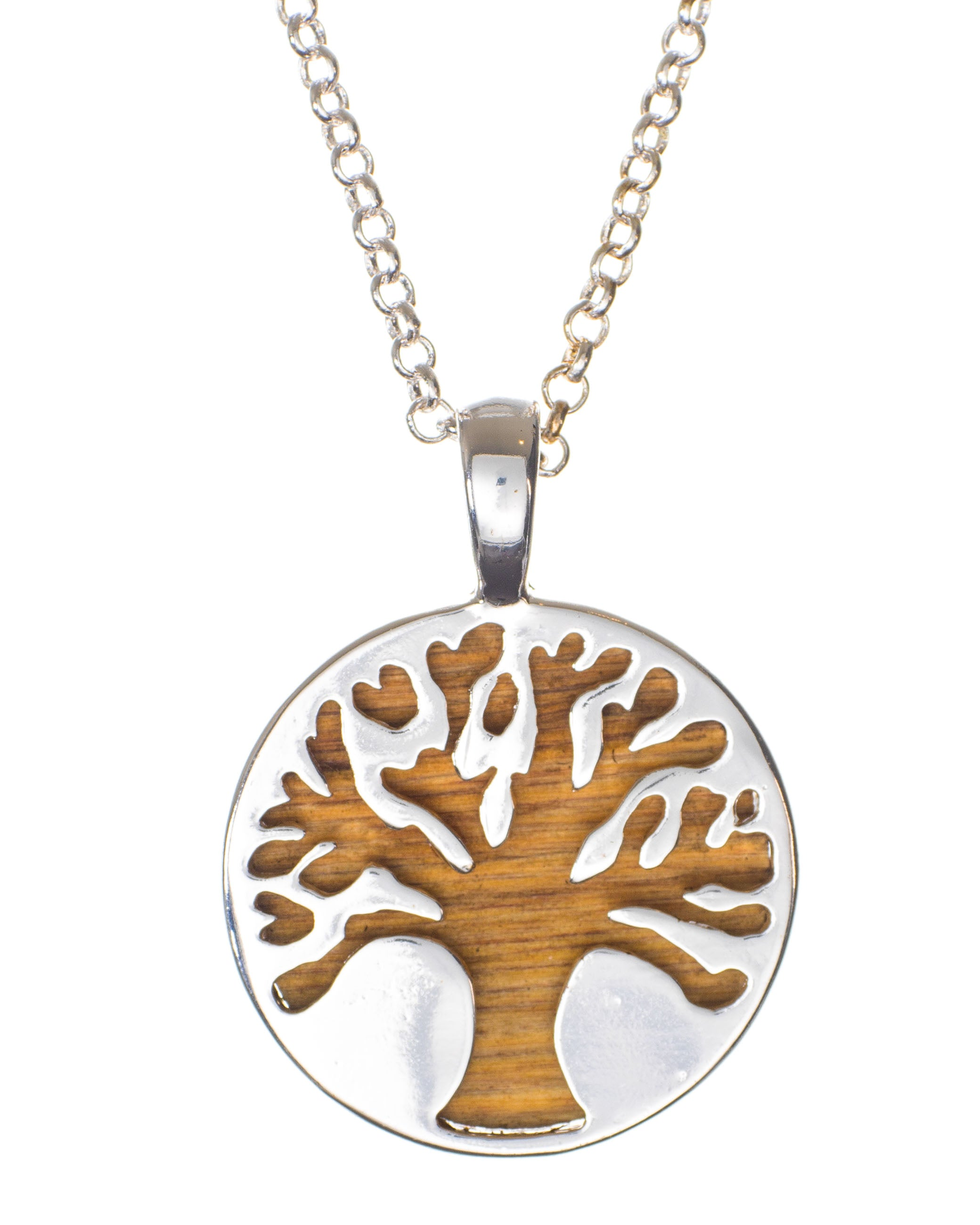Tree Of Life Pendant With Wood Underlay And Prayer On Back