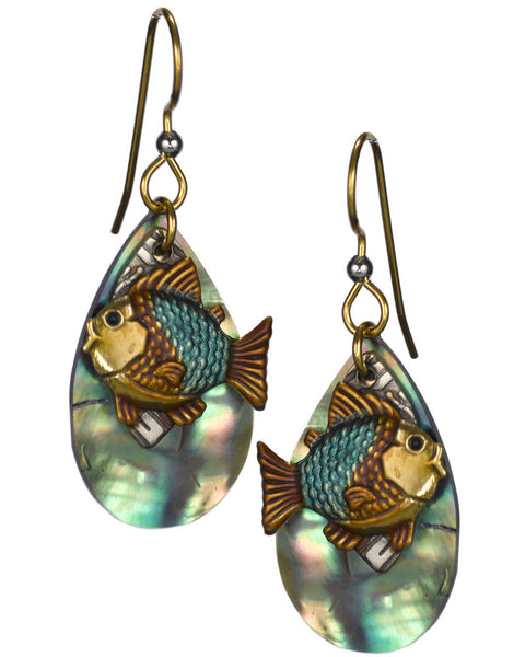 Blue & Bronze Fish over Textured Tear Drop Genuine Shiny Shell Earrings by Silver Forest