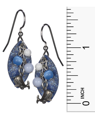 Antique Silver Whale Earrings & Dangling Beads Layered on Blue Textured Tear Drop Silver Forest