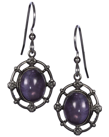 Amethyst Oval Antique Filigree Beaded Dangle Earring over Surgical Steel Earwire by Silver Forest