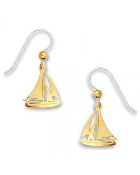 Sailboat Nautical Earrings Gold Tone Plate, Handmade in the USA by Sienna Sky 1125