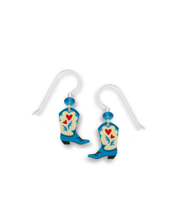 Blue Cowgirl Boots with red Heart Earrings, Handmade in USA by Sienna Sky si1396