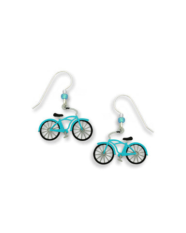 Vintage Style Blue Aqua Bicycle Earrings Handmade in USA by Sienna Sky 1596