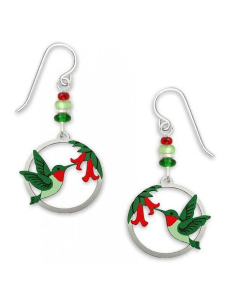 Hummingbirds & Flowers in Circular Frame Earrings Handmade in USA by Sienna Sky 1673
