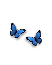Blue Butterfly Folded Post Earrings, Handmade in USA by Sienna Sky si1732