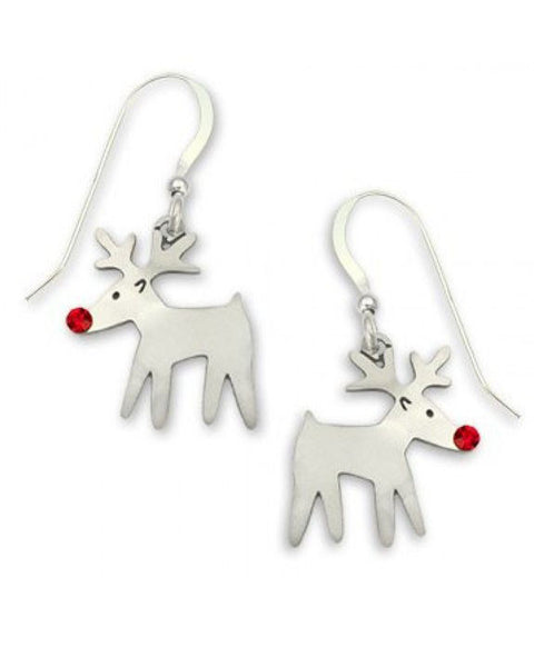 Sienna Sky Rudolph Reindeer with Red Crystal Nose Dangle Earrings 934