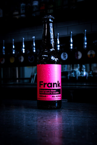 An ice cold fruity bottle of beer by Keith the Brewery. Keith Brewery Frank Edition which consists of berries to give it its' pink colour and distinctive fruity taste.