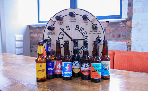 Beer O Clock featuring all of the bottles of beer that come with this novelty gift. Including but not limited to Cold Bath, Keith, Thornbridge, Freedom, Harviestoun and Alechemy.