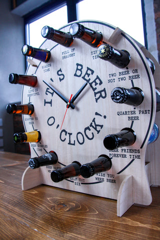 An assembled Beer O'Clock, including bottles from countless respected breweries. Including but not limited to Keith, Harviestoun, Alechemy, Freedom, Cold Bath, Thornbridge.