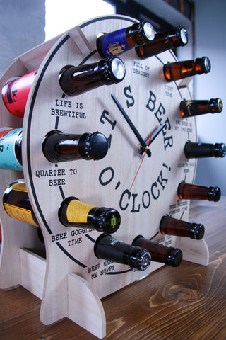 A fully stocked Beer O Clock novelty gift. With 12 bottles of beer from various brewers located in the United Kingdom. Including but not limited to; Thornbridge Brewery, Keith Brewery, Cold Bath Brewery, Freedom Brewery, and Alechemy Brewery.