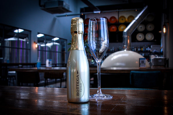 A bottle of Bottega Gold Premium Prosecco sat on a table in a bar in Newcastle