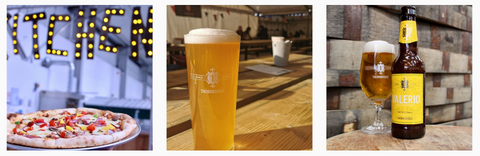 Thornbridge Taproom's Instagram Page - consisting of a stone baked pizza, pint of pale ale, bottle of beer with a full glass of lager.
