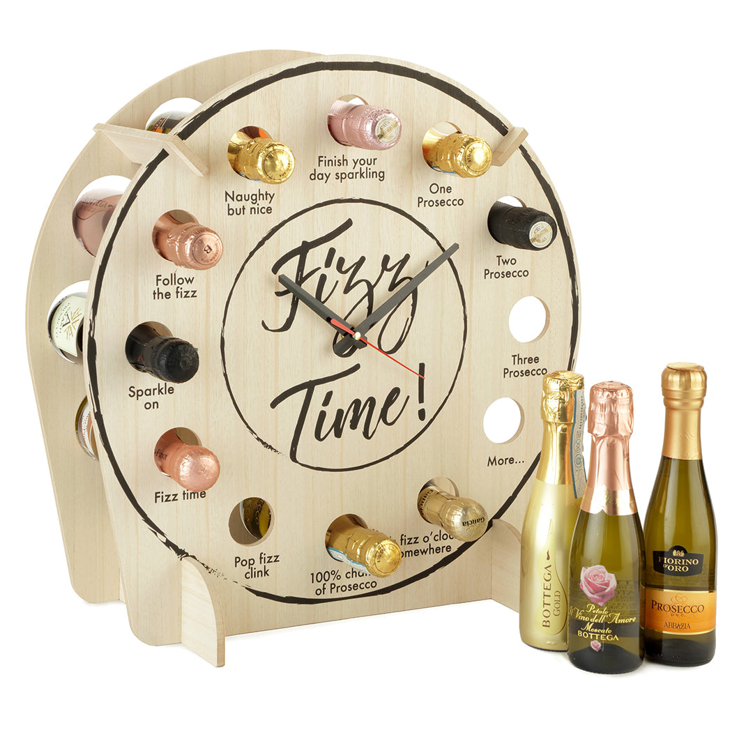 A novelty clock, perfect for Prosecco lovers including 12 bottles of premium Prosecco.
