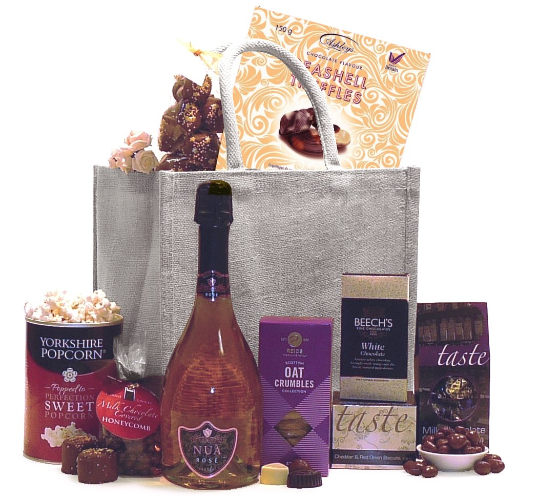Premium sweet and savoury gift bag consisting of Wine, Chocolate, Biscuits and more.