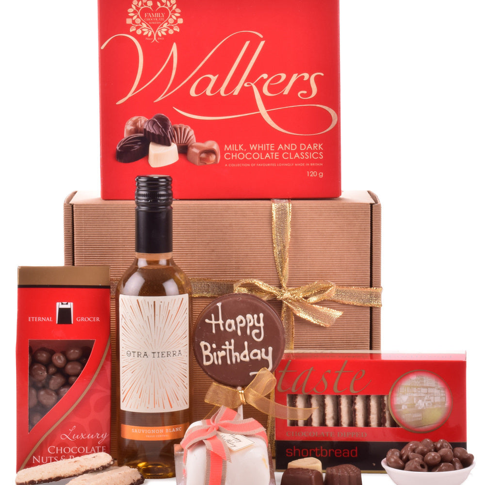 A gift box perfect for lovers of white wine, Chilean Sauvignon Blanc accompanied by luxury birthday chocolates.