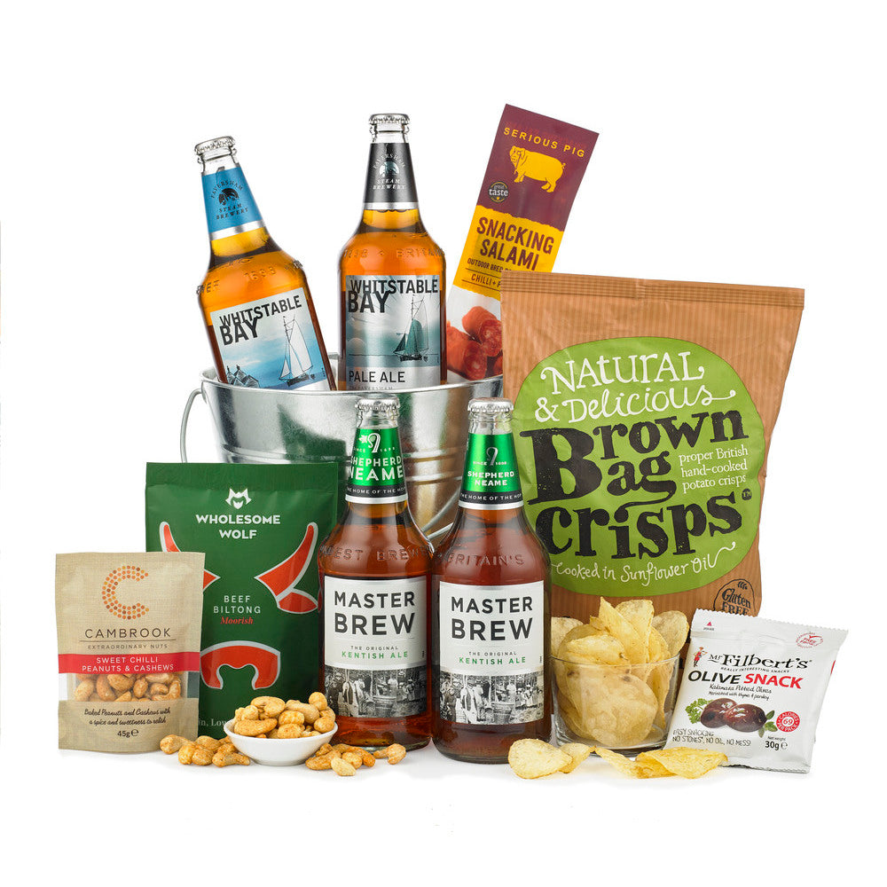 A Beer lovers ideal gift, combining great beer with an array of scrumptious savoury snacks.