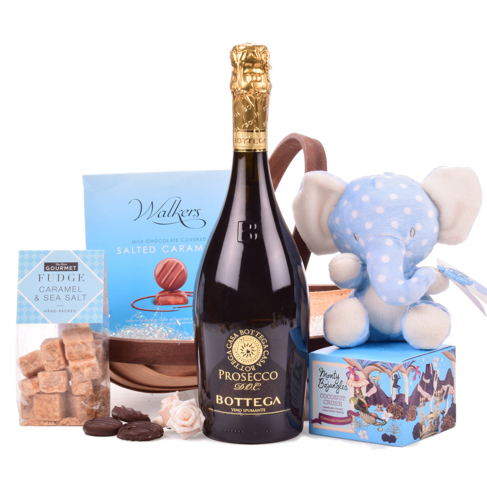 Luxury gift containing Prosecco with an array of sweet treats for Parents expecting a baby boy.