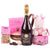 Luxury gift containing Prosecco with an array of sweet treats for Parents of a baby girl.
