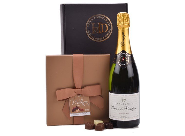 Iconic Champagne and a box of premium Chocolates.