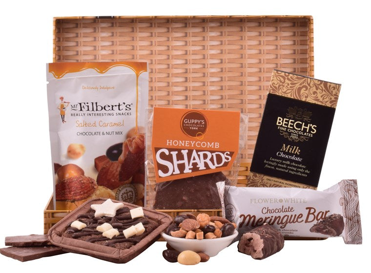 A chocolate lovers dream gift, all neatly packaged to fit in a letter box sized gift box.