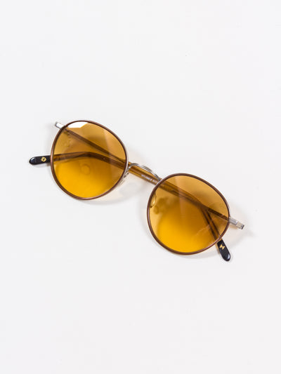 DIck Moby, Brussels, Ochre Brushed Gold Gradient yellow lenses. eyewear sunglasses