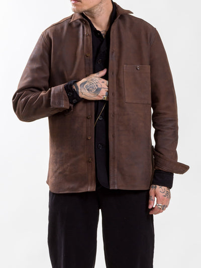 Uncle Bright, Mike Leather, Brown, leather shirt