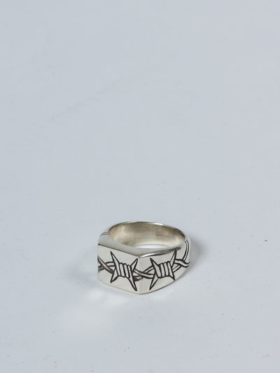 MENS SILVER RING BARBED WIRE