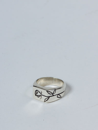 MENS SILVER RING ROSE