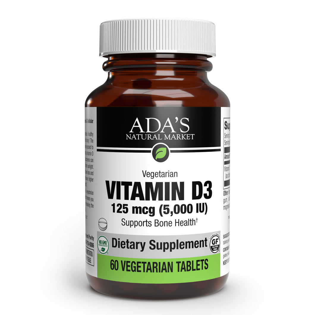Ada's Natural Market - Vitamin D3 5,000 IU Tablets (60ct / 60 servings) - $0.29/serving*