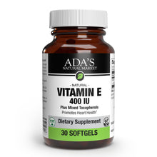 Load image into Gallery viewer, Ada's Natural Market - Vitamin E 400 IU Mixed Tocopherols Softgels (30ct / 30 servings) - $0.60/serving*