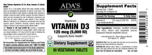 Load image into Gallery viewer, Ada's Natural Market - Vitamin D3 5,000 IU Tablets (60ct / 60 servings) - $0.29/serving*