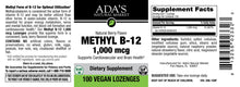 Load image into Gallery viewer, Ada's Natural Market - Methyl B12 1,000 mcg Veg Lozenge - Natural Berry Flavor (100ct / 100 servings) - $0.17/serving*